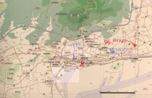 長崎街道を歩く 街道は赤い点線